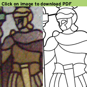Picture of a stain glass soldier in the lobby with a drawing